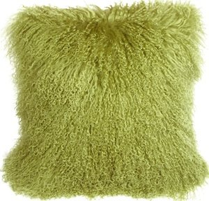 Marley Mongolian Fur Scatter Cushion In Lime Green Amazon