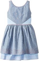 kc parker Big Girls' Printed-Chambray Tiered Dress