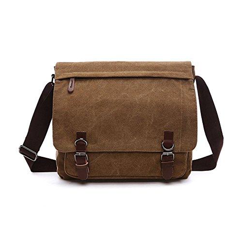 Spalla degli Uomini Messenger Bag borsa di Tela di Crossbody Giorno Laptop Bag per 15 pollici, Grandi Dimensioni (Marrone Scuro) (Marrone Scuro)