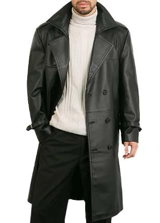 "BGSD Men's ""Xander"" Classic Leather Long Trench Coat - Black M"