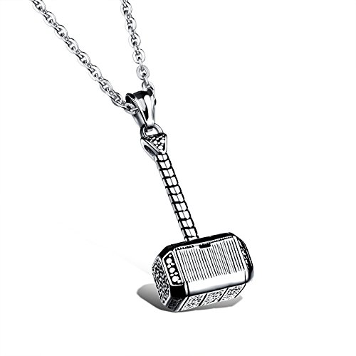 Titanium-Steel-Thors-Hammer-Quake-Pendant-Necklace-for-Men