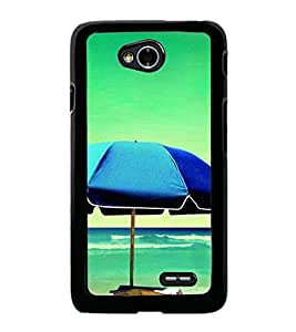 Fuson Premium 2D Back Case Cover Beach With Pink Background Degined For LG L70