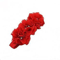 Bellazaara BELLAZAARA Red Triple Chiffon Flower Rhinestone Baby Headband Head Band (Red)
