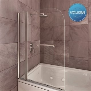Infinity Double Curved Shower Bath Screen with Towel Rail