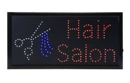 Displays2Go Led Hair Salon Sign With 2 Chains For Hanging In Windows Open Face, Red/White/Blue (Ledfshair)