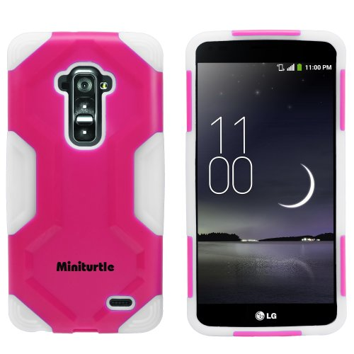 Miniturtle, 2 In 1 Hybrid Curved Shell Casing Hard Phone Case Cover, Stylus Pen, And Clear Lcd Screen Protector Film For Android Smartphone Lg G Flex /T Mobile D959, /At&T D950, /Sprint Ls995 (Pink / White)
