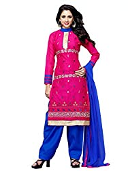 PARISHA Chanderi Cotton Dark Pink Women's Straight Suit ARY3012