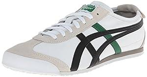 Onitsuka Tiger Mexico 66 Fashion Sneaker, White/Black/Green, 8 M Men's US/9.5 Women's M US