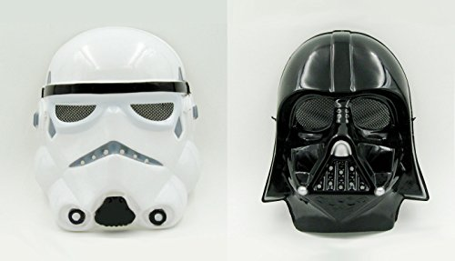 2Pcs Star Wars Cosplay PVC Mask StromTrooper & Darth Vader Halloween Fancy Wear
