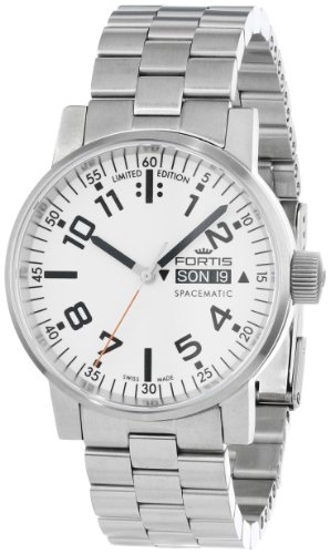 Fortis Men's 623.10.42 M Spacematic Swiss Automatic Luminous Day and Date Stainless Steel Bracelet Watch