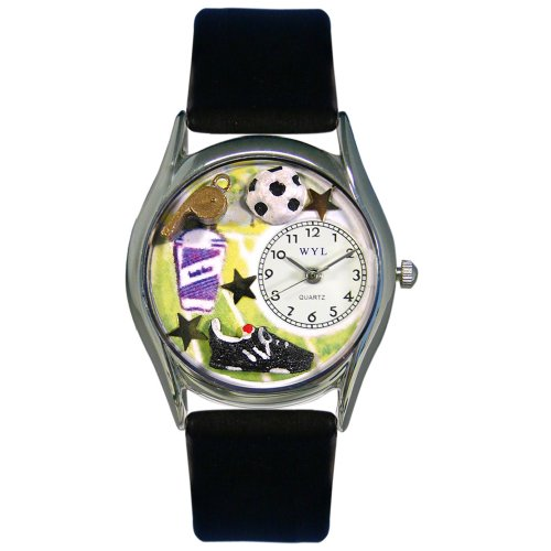 Whimsical Watches Women's S0820020 Soccer Black Leather Watch