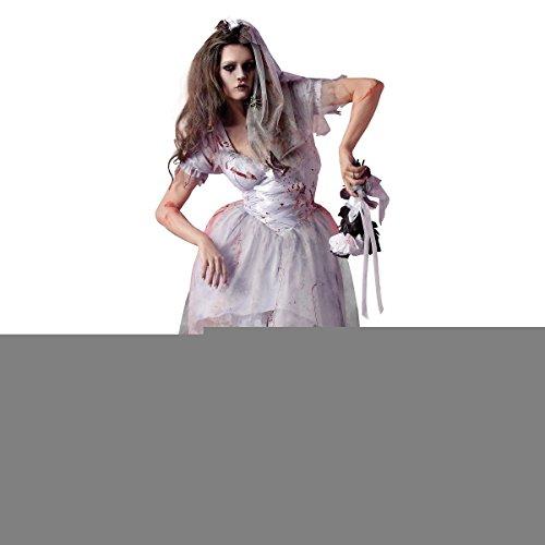 [GSG Zombie Bride Costume Adult Scary Halloween Fancy Dress] (Dark Skeleton Bride Child Costumes)