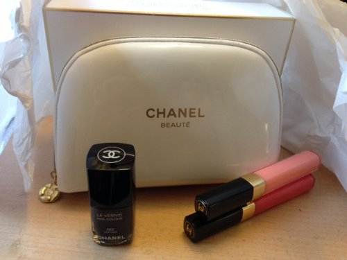 Chanel Essential Trio for Lips and Nails with Cosmetic Bag