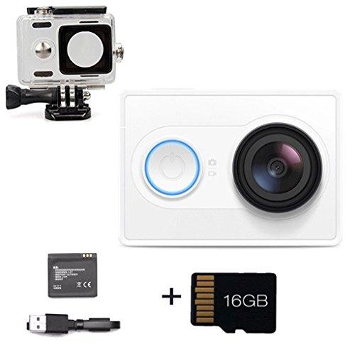 Originale Xiaomi yi Fotocamera Xiaoyi lo sport di azione 16MP 4608x3456 1920x1080p WIFI Bluetooth 4.0 Standard Edition (blanco+TF16G)