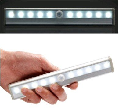 Usabestdeal® Diy Stick-On Anywhere Portable 10-Led Wireless Motion Sensing Closet Cabinet Led Night Light / Stairs Light / Step Light Bar With Magnetic Strip (Battery Operated)