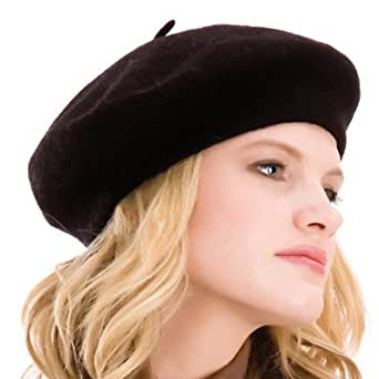Ladies Fashionable Black Soft Wool Rich Traditional Beret Style Hat With Tab