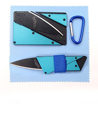 Kitsale Iain Sinclair Cardsharp3 Authentic Credit Card Sized Folding Knife Blue Metal Handle With Black Blade +4.5Cm D Links Climbing Outdoor Carabiner+Microfiber Cloth+Ties