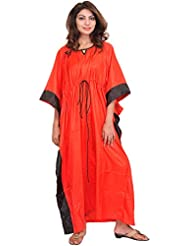 Exotic India Poppy-Red Solid Kaftan With Black Border And Waist Sash - Red