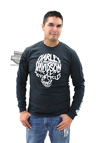 Harley-Davidson Mens Legendary Skull Glow In The Dark Black Long Sleeve T-Shirt - LG