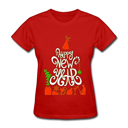 KINSIN Women's Happy New Year 2016 T-shirts Red M