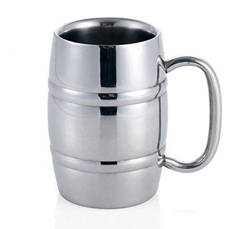 Boccali da birra, Isenretail acciaio inossidabile tazza di birra, tazza da tè/Caffè/latte/acqua, Design a doppia parete con 400 ml di alta capacità