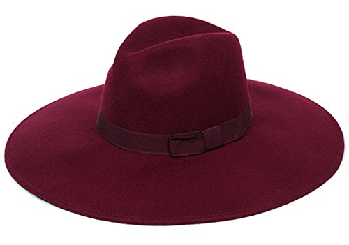Fedora Women Woolen Bowler Hat Wide Brim Floppy Cloche Church Derby Cap