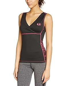 Ultrasport Damen Fitnessshirt, black/pink, XS, 10330