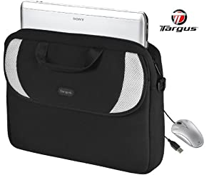 "Targus 15.6"" Laptop Case +3-button USB Optical Mouse Bundle (Neoprene 15.6 inch Laptop Bag with Shoulder Strap & Carrying Handle )"