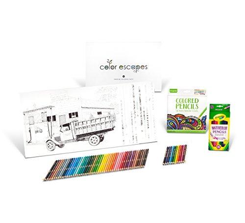Crayola Color Kit, 12 Premium Pages, 12 Watercolor Pencils, 50 Colored Pencils Set JungleDealsBlog.com