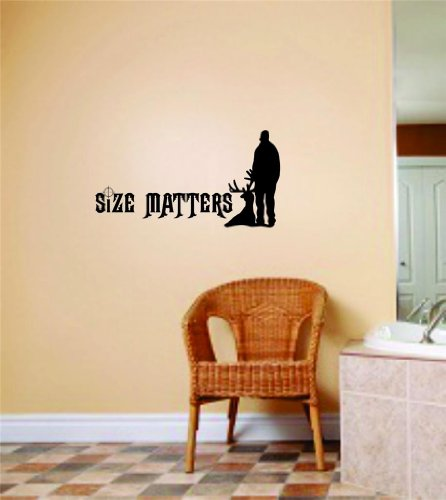 Size Matters Wall Letters With Animal Picture Art - Kids Room Bow Hunting - Deer / Moose / Buck Hunter Hobby Sports - Mens Vinyl Stickers - Cut Wall Decal - Decoration Ideas - Cheap Buy Sale Item - Size : 8 Inches X 16 Inches - 22 Colors Available