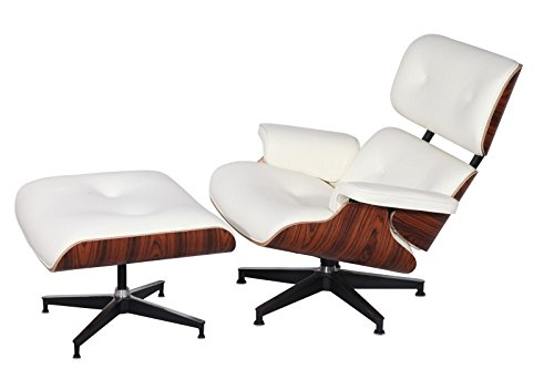 Mid Century Modern Classic Rosewood Plywood Lounge Chair & Ottoman With White Premium Top Grain Leather Eames Style Replica