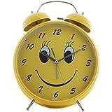 Jumbo Quartz Twin Bell Alarm Clock With Light Smiley (1h85) - Yellow - Analog Room Decor (Size 23.5x8.5x30.5 Cm)