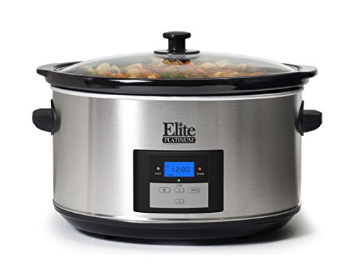 Elite Platinum MST-900D Maxi-Matic 8.5 Quart Digital Slow Cooker, Stainless Steel (8 Quart Programmable Slow Cooker compare prices)