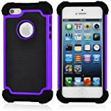SOOPER Purple Defender Heavy Duty Protective Hybrid Cover Case For Apple iPhone 5S / 5 (Purple [Heavy Duty])