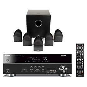 Yamaha RX-V371BL and Mirage NanoSat 5.1 Home Theater Package (Black)