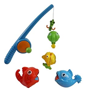 Rod and reel fishing game bath toy set for for Kids fishing poles