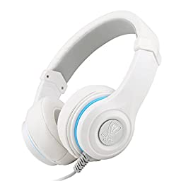 Darkiron N8 Headphones Headset with In-line Mic and Volume Control, Extremely Soft Ear Pad, Cute Earphones for Cellphone Smartphone Iphone/ipad/laptop/tablet/computer/MP3/MP4/etc. (White)