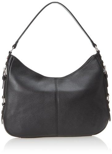 Calvin Klein Pebble Leather Hobo,Black/Silver,One Size