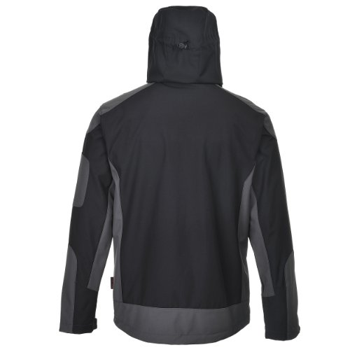 Cox Swain Herren 3 Lagen Softshelljacke Descent Titanium 10.000mm Wassersäule 2.000mm atmungsaktiv, Farbe: Black/Grey, Größe: XL -