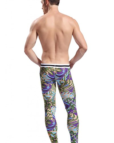 Squishy Purple Banana 25 : Showtime Men s Midweight Ultra Soft Green Purple Banana Print Thermal Underwear Long John Tights ...