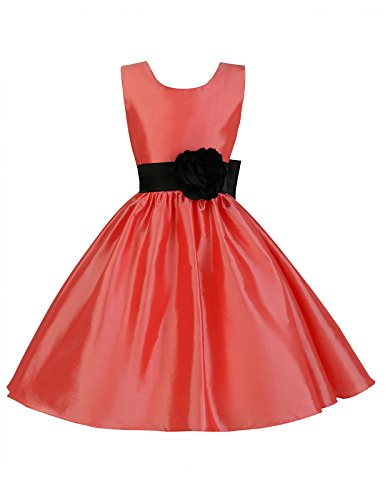 Cute Kids School Dance Party Dress with Waistband 11-12 Years