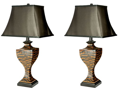 Safavieh Lighting Collection Abuja Dark Wood Zebra 1-Bulb Table Lamps, Set of 2