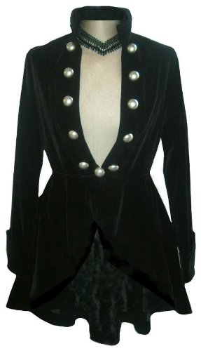 Black - Elegant Velvet Gothic or Victorian Vintage Regency Flounce Style Jacket In Sizes 16-18