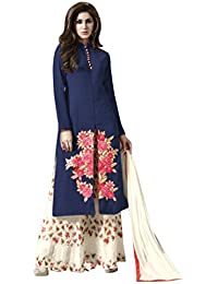 New Design Blue & Cream Embroidered & Heavy Printed Plazzo Suit