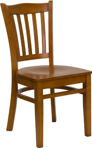 Flash Furniture XU-DGW0008VRT-CHY-GG Hercules Series Cherry Finished Vertical Slat Back Wooden Restaurant Chair (Wooden Restaurant Chair compare prices)