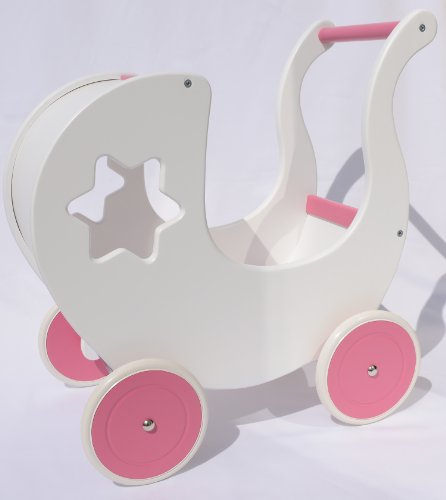 Puppenwagen STAR WHITE PINK Lauflernhilfe Lauflernwagen
