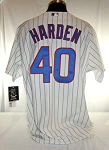 Rich Harden Chicago Cubs #40 Authentic Majestic Home Pinstripe Jersey - MLB Authentic Adult Jerseys