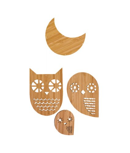 Petit Collage Classic Bamboo Mobile, Owl Family front-170162