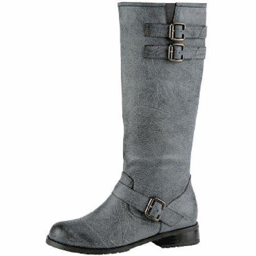 Women's Wild Diva Lug-05 Grey Knee High Round Toe Boots Shoes, Grey, 6