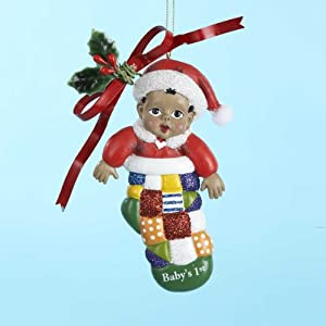 """Club Pack of 12 """"Baby's 1st"""" Christmas Stocking Holiday Ornaments 4.75"""""""
